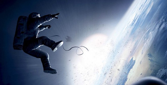 Dr. Ryan Stone (Sandra Bullock) hurtles into space in Gravity. Image: Warner Bros