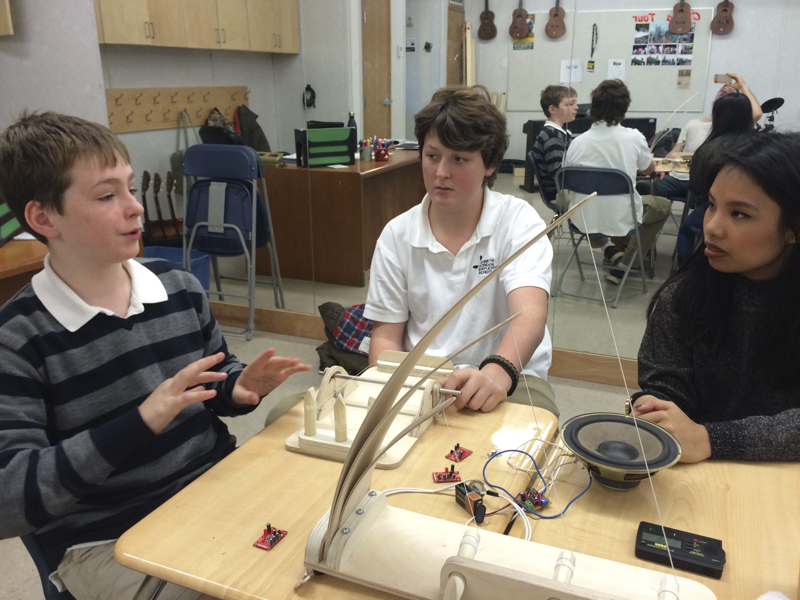 Students from Emily Carr and Kenneth Gordon working together on a collaborative musical instrument.