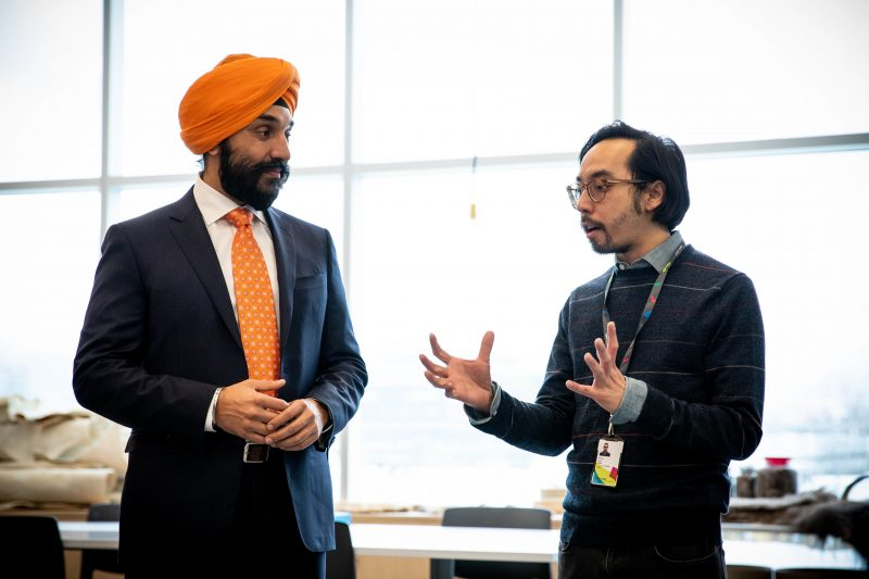 Minister Bains with Steven Lam, Associate Vice President of Research + Dean of the Jake Kerr Faculty of Graduate Studies at Emily Carr University